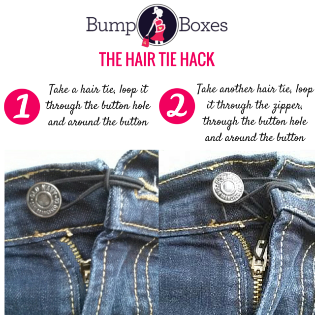 Are Maternity Clothes Necessary - The Hair Tie hack to make pants fit