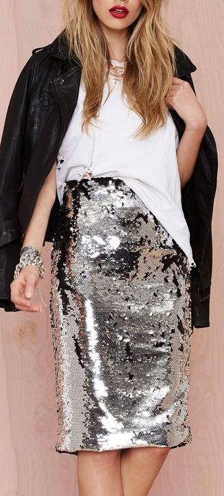 ways how to wear sequin skirt outfit 18