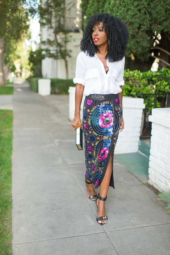 ways how to wear sequin skirt outfit 19