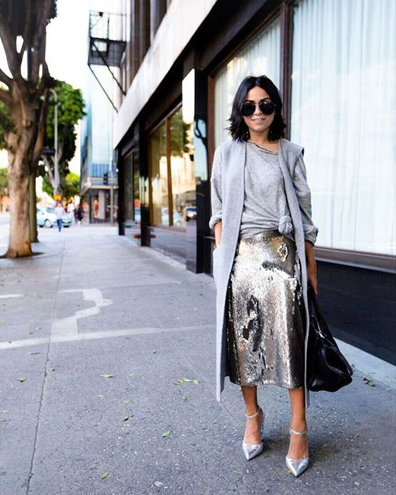 ways how to wear sequin skirt outfit 20