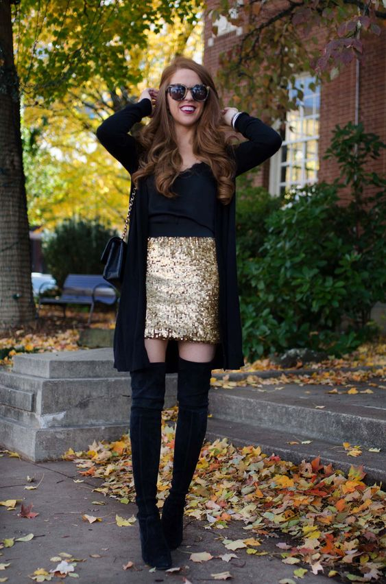 ways how to wear sequin skirt outfit 21