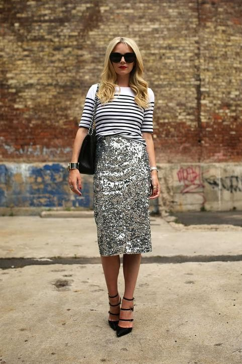 ways how to wear sequin skirt outfit 22