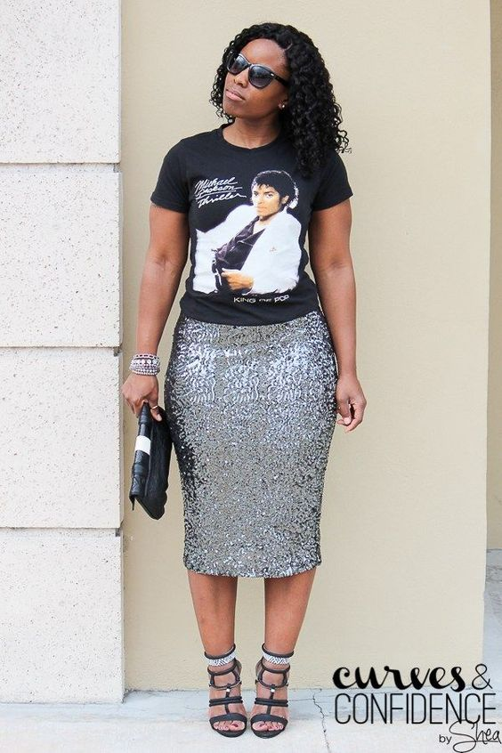 ways how to wear sequin skirt outfit 23