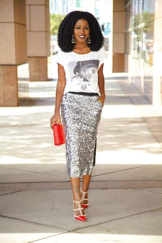 ways how to wear sequin skirt outfit 24