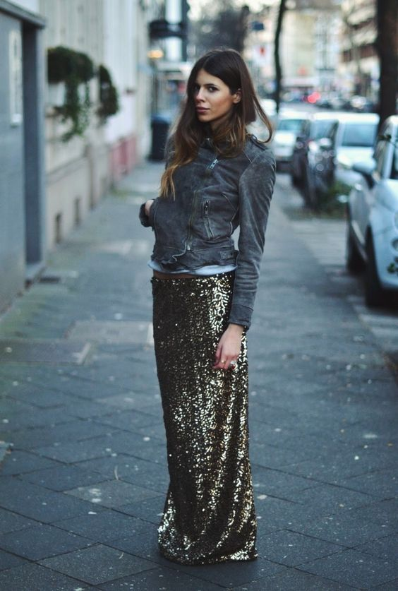 ways how to wear sequin skirt outfit 25