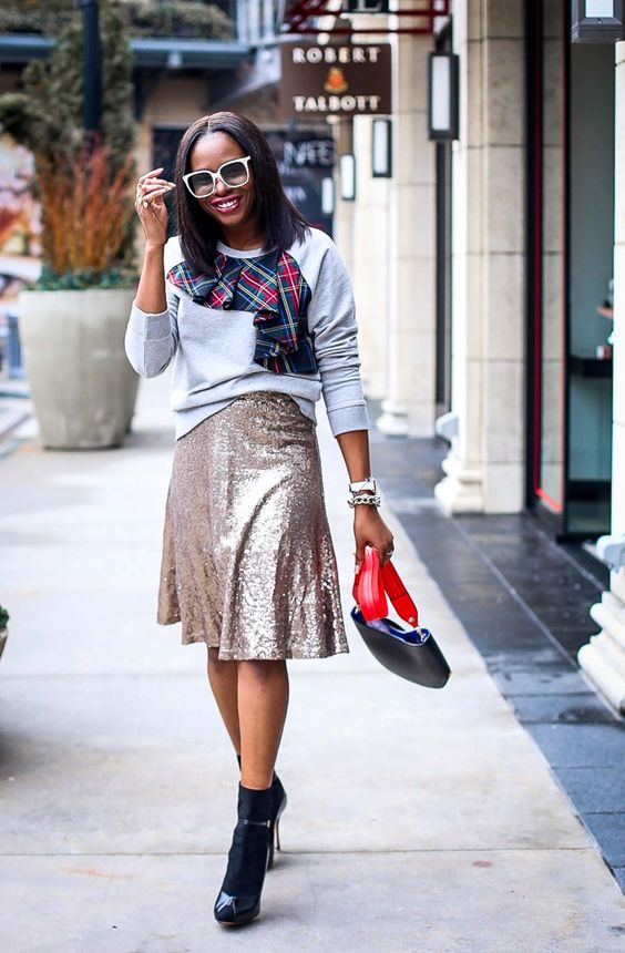 ways how to wear sequin skirt outfit 31
