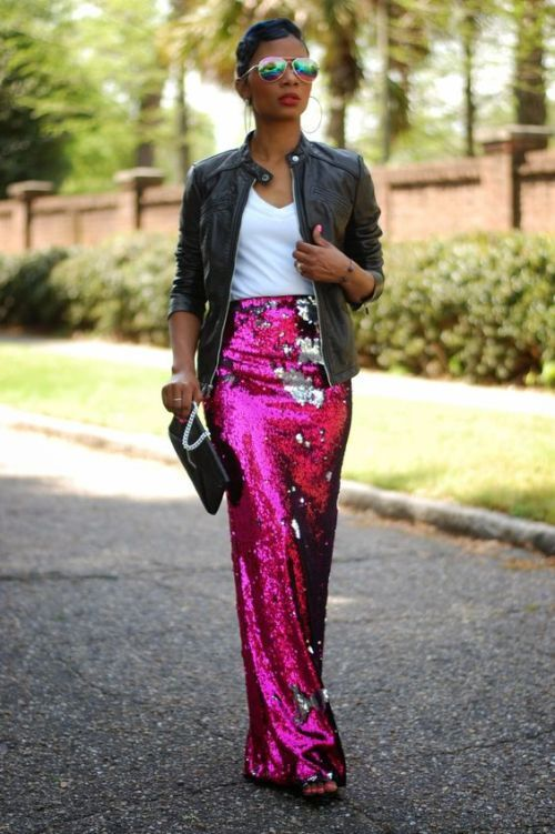 ways how to wear sequin skirt outfit 4