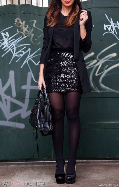 ways how to wear sequin skirt outfit 5