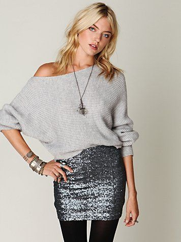 ways how to wear sequin skirt outfit 7