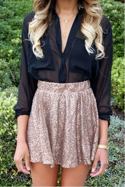 ways how to wear sequin skirt outfit 8